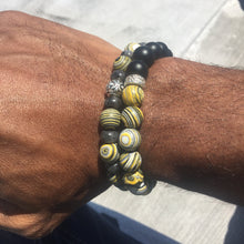 Load image into Gallery viewer, Yellow Malachite with sterling silver Rondell's and Black frosted onyx beads, held together on professional stretch string.