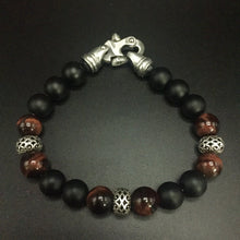Load image into Gallery viewer, 10mm red tigereye, black agate,sterling silver rondells with a stainless steel clasp .