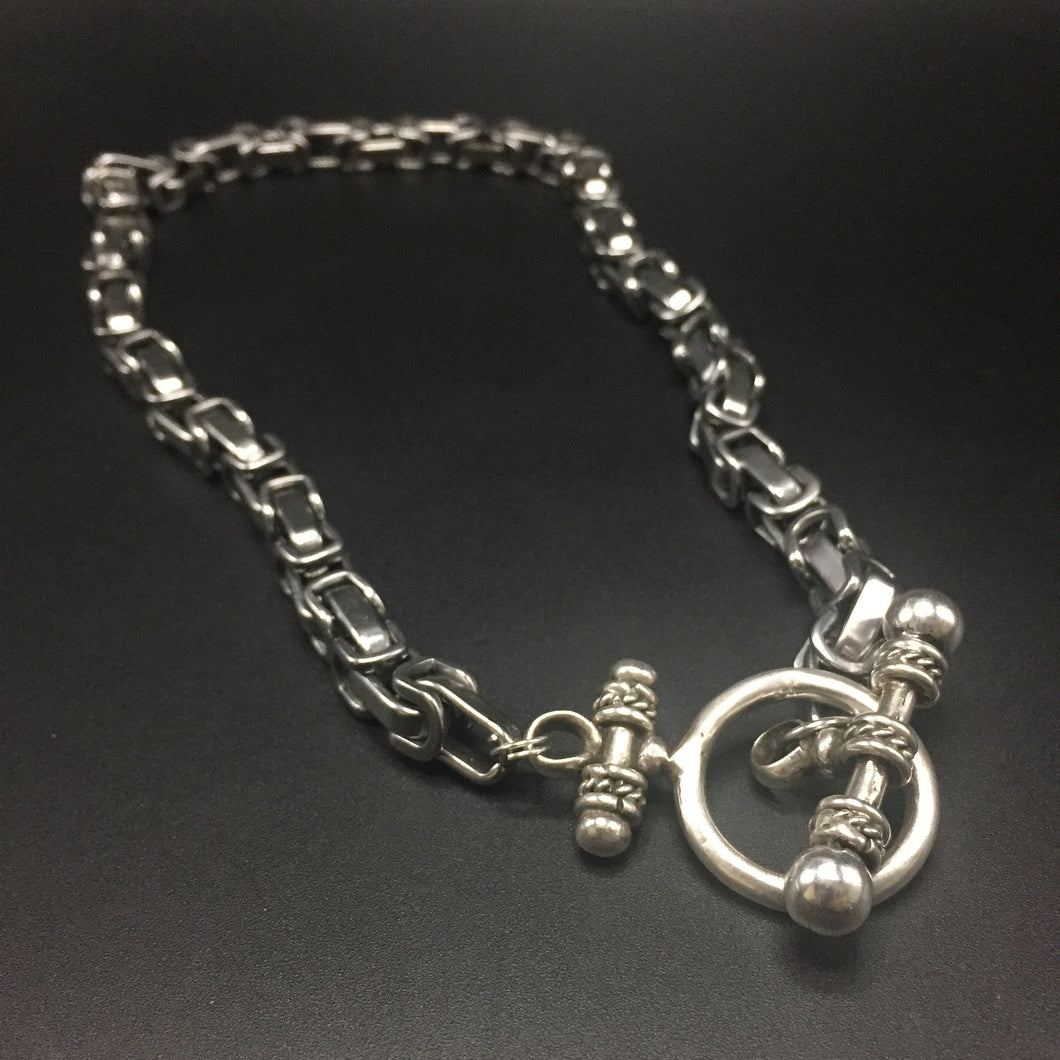 Tungsten byzantine links with a sterling toggle  clasp.