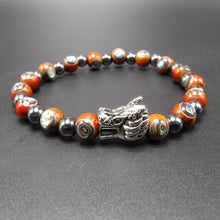 Load image into Gallery viewer, sterling silver dragon head, black hematite beads, and rosewood Abalone beads.