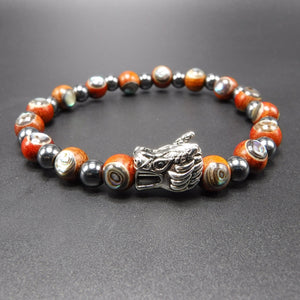 sterling silver dragon head, black hematite beads, and rosewood Abalone beads.