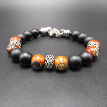 Load image into Gallery viewer, stainless steel clasp, sterling silver Rondels, black matted onyx Beads, and rosewood Abalone Beads