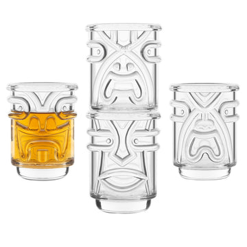 Tiki Shot Glasses 2oz - Set of 4
