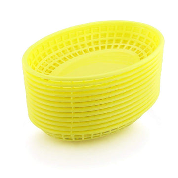 Oval Fast Food Plastic Basket - Yellow
