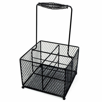 Black Condiment Holder Caddy - Square