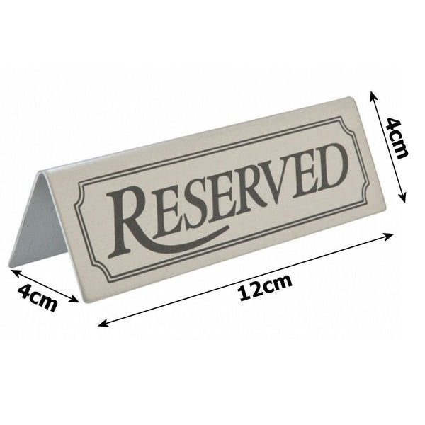 Stainless Steel Reserved Table Sign
