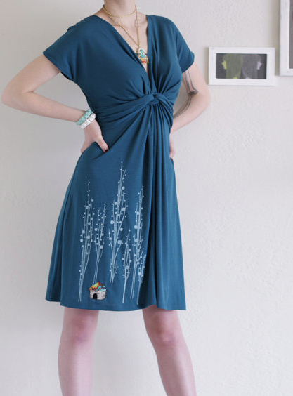 Screen printed teal jersey dress