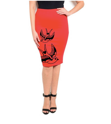 Bruno & Betty Pencil Skirt- Red Swallows