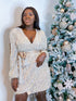 Long Sleeve Wrap Dress with Sequin Fringes
