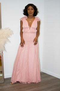 Sweet Romance Pink Sequins Maxi Dress