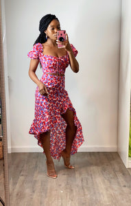 Vacation Please -Floral Top & Skirt Set