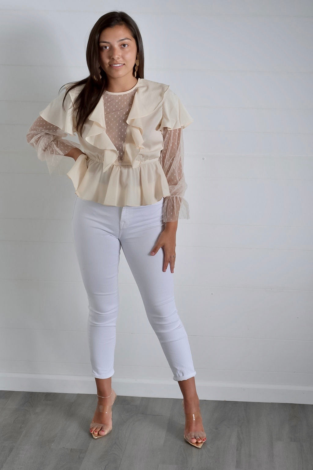 Show Me Something-Crepe Ruffle Mesh Top