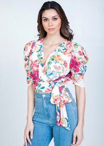 Print Surplice Cropped Top