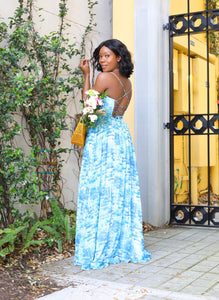 Elisa Printed Maxi in Blue