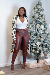 High Rise Faux Leather Pants