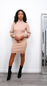Puff Sleeve Tan Sweater Dress