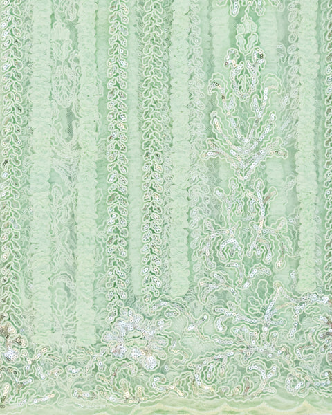 Mint Sea Foam Sequin French Lace