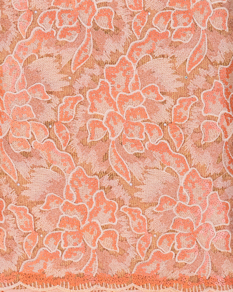 Coral Floral Wedding Fabric