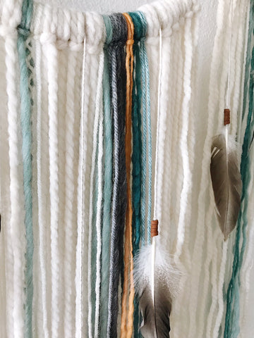 Feather details | Boho Wall Hanging | Bast + Bruin