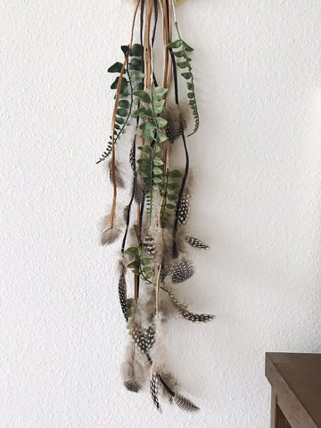 Feathers and Greenery | Bohemian Dreamcatcher Details | Bast + Bruin