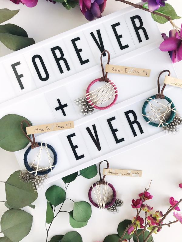Mini Dream Catchers as Boho Escort Cards | Bast + Bruin