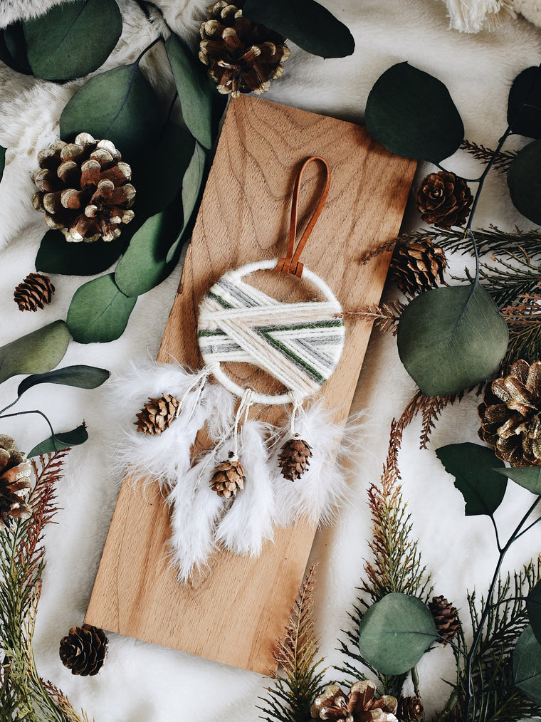 Woven Dream Catcher Ornament - Pine