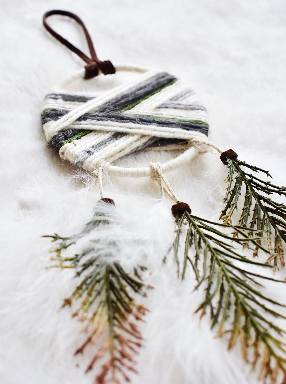 Woven Dream Catcher Ornament - Evergreen