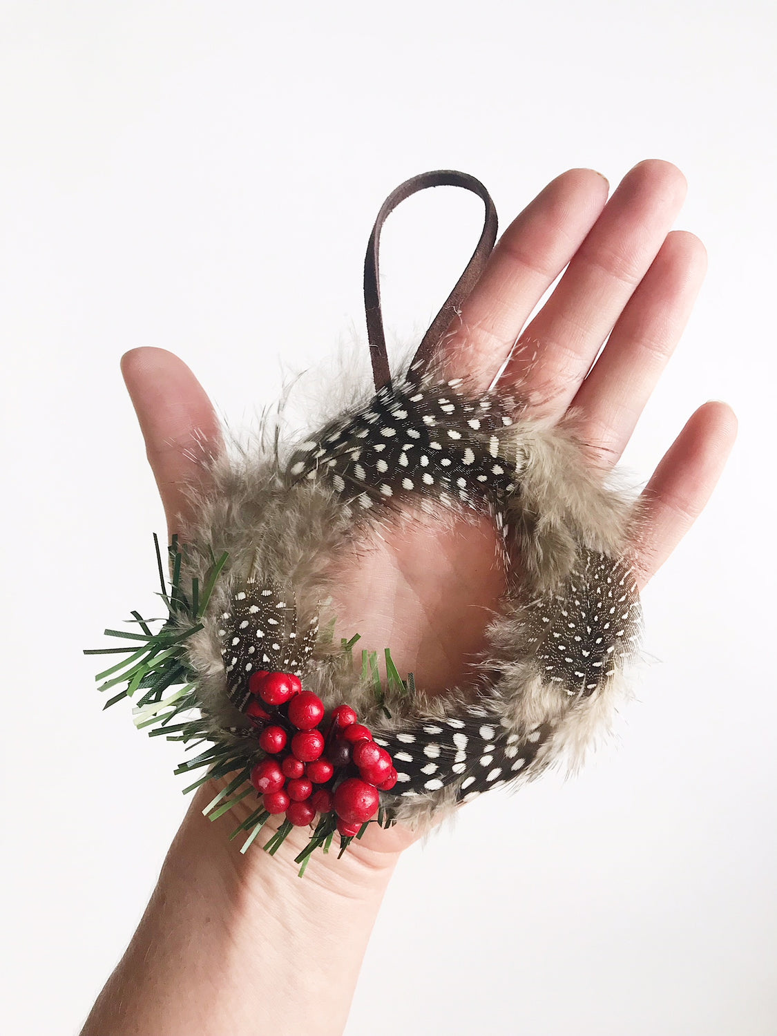 Pinecone Feather Wreath Ornament