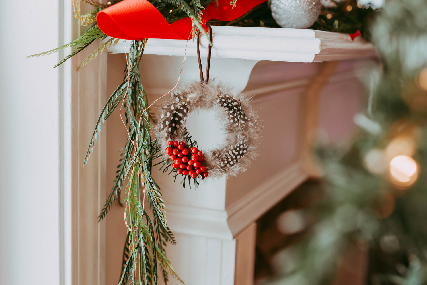 Holly Berry Feather Wreath Ornament