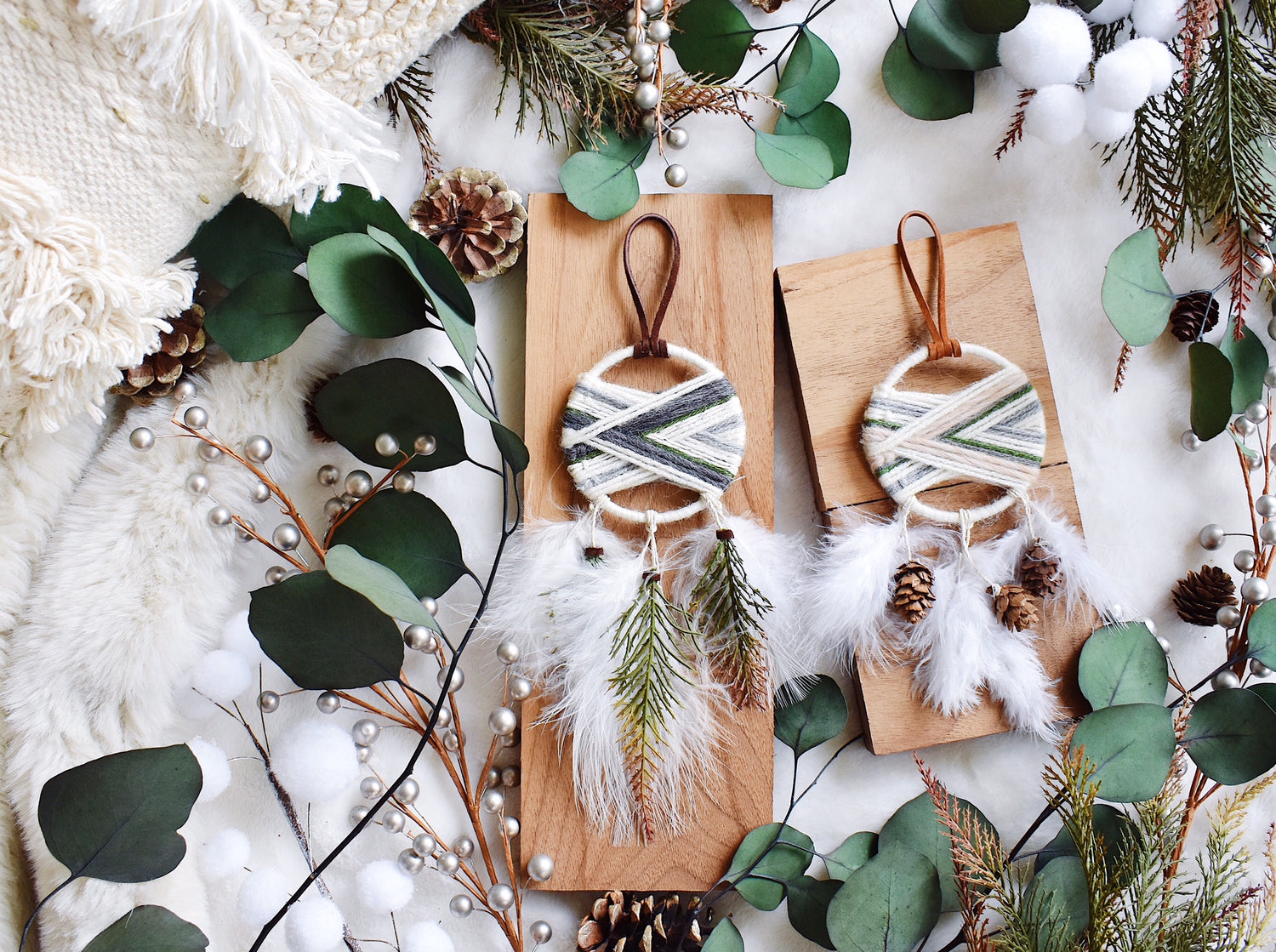 Winter Cabin Woven Dream Catcher - Evergreen
