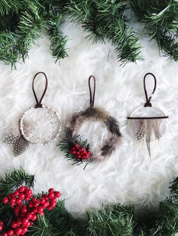 Winter White Dream Catcher Ornament Trio from Bast + Bruin