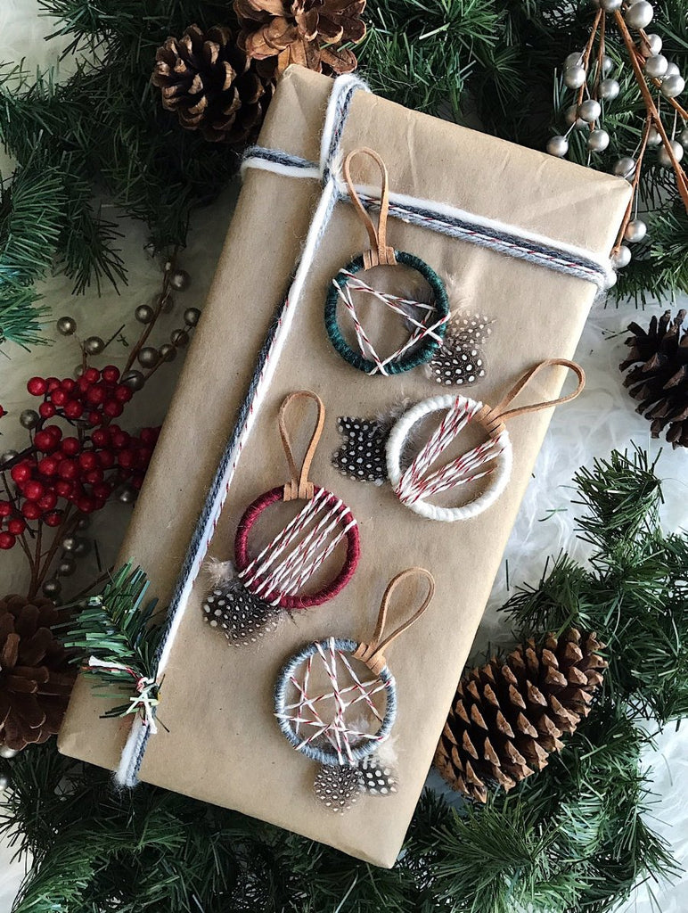 Christmas Ornament Favors│Gift Toppers for Packages│Mini Dream Catchers