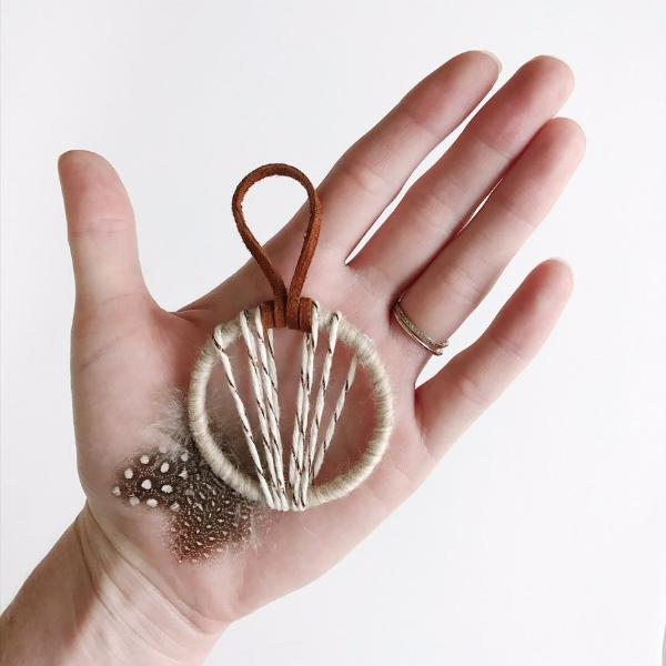 Close up of a boho dream catcher Christmas ornament