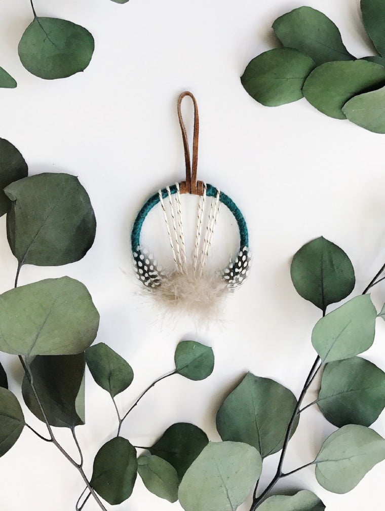 Jewel Tone Mini Dream Catcher - Teal