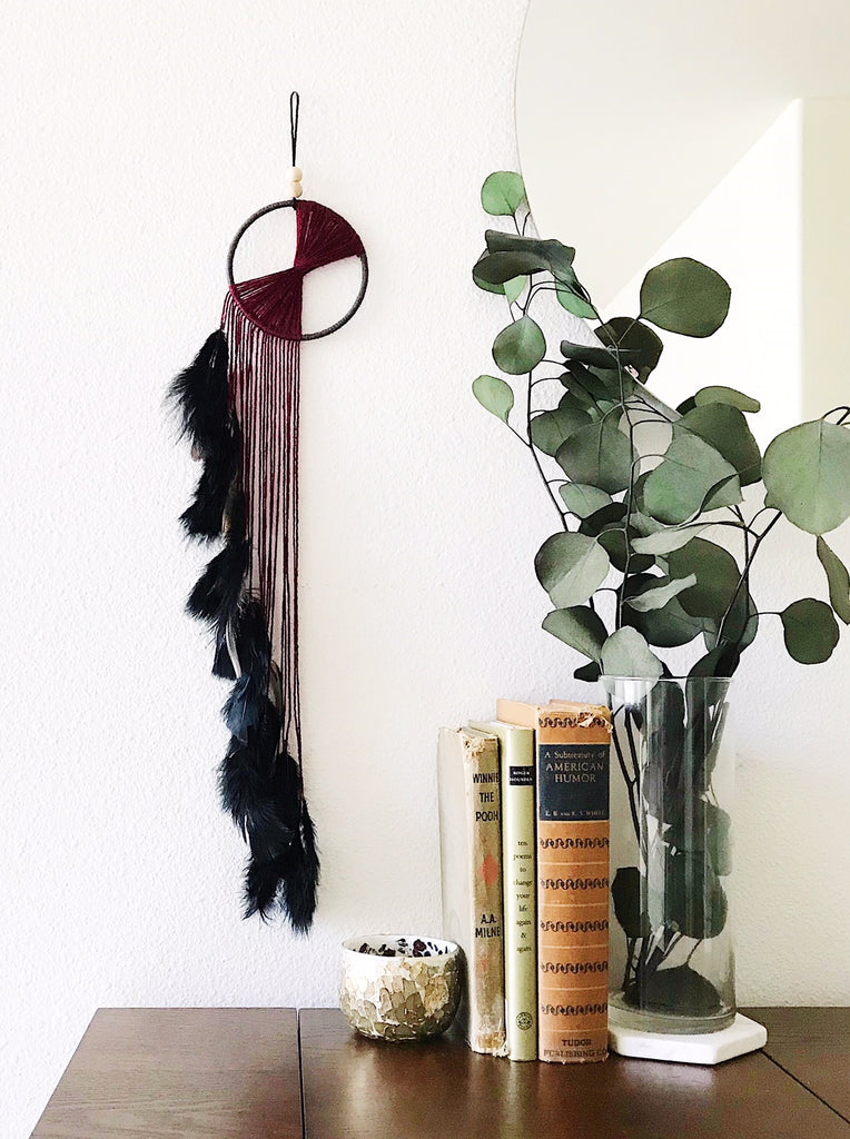 Small Waterfall Dreamcatcher Wall Hanging in Oxblood