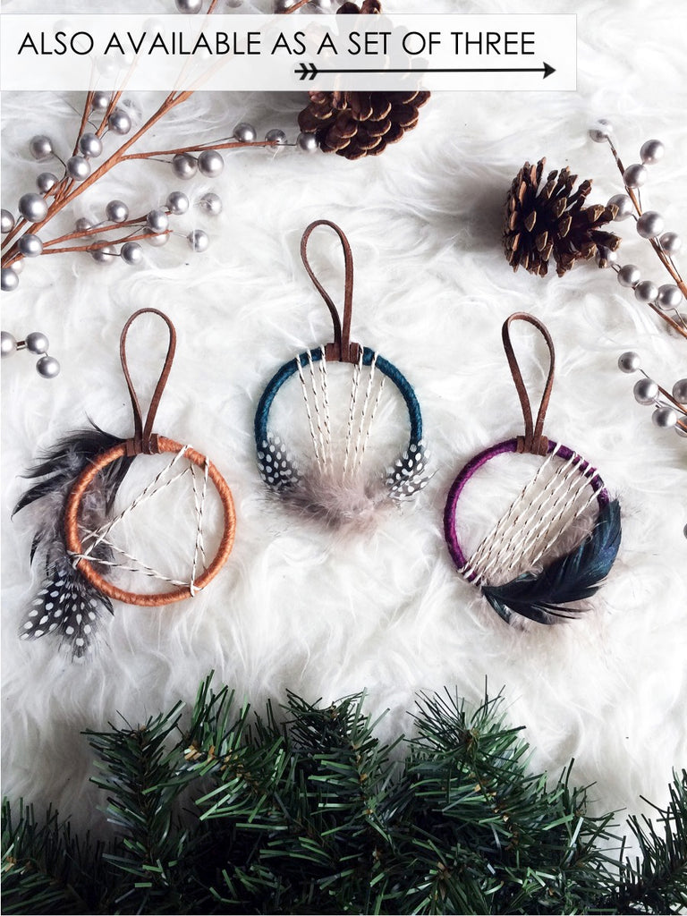 Gemini Dream Catcher Ornament - Teal