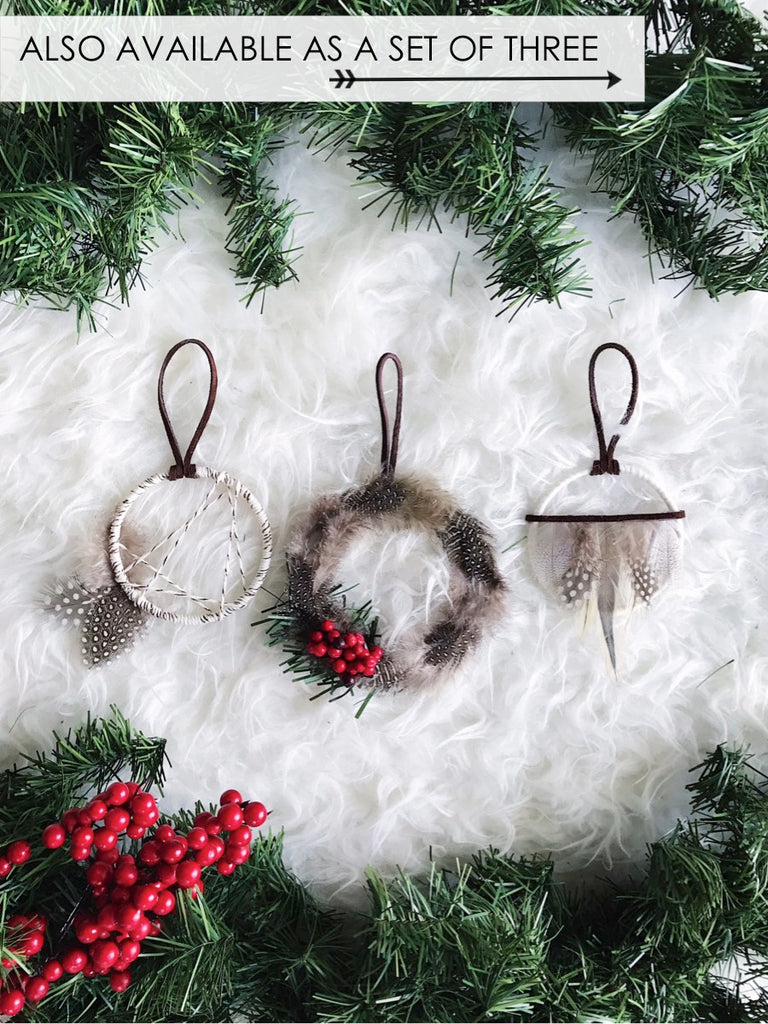 Feather Wreath Ornament Set
