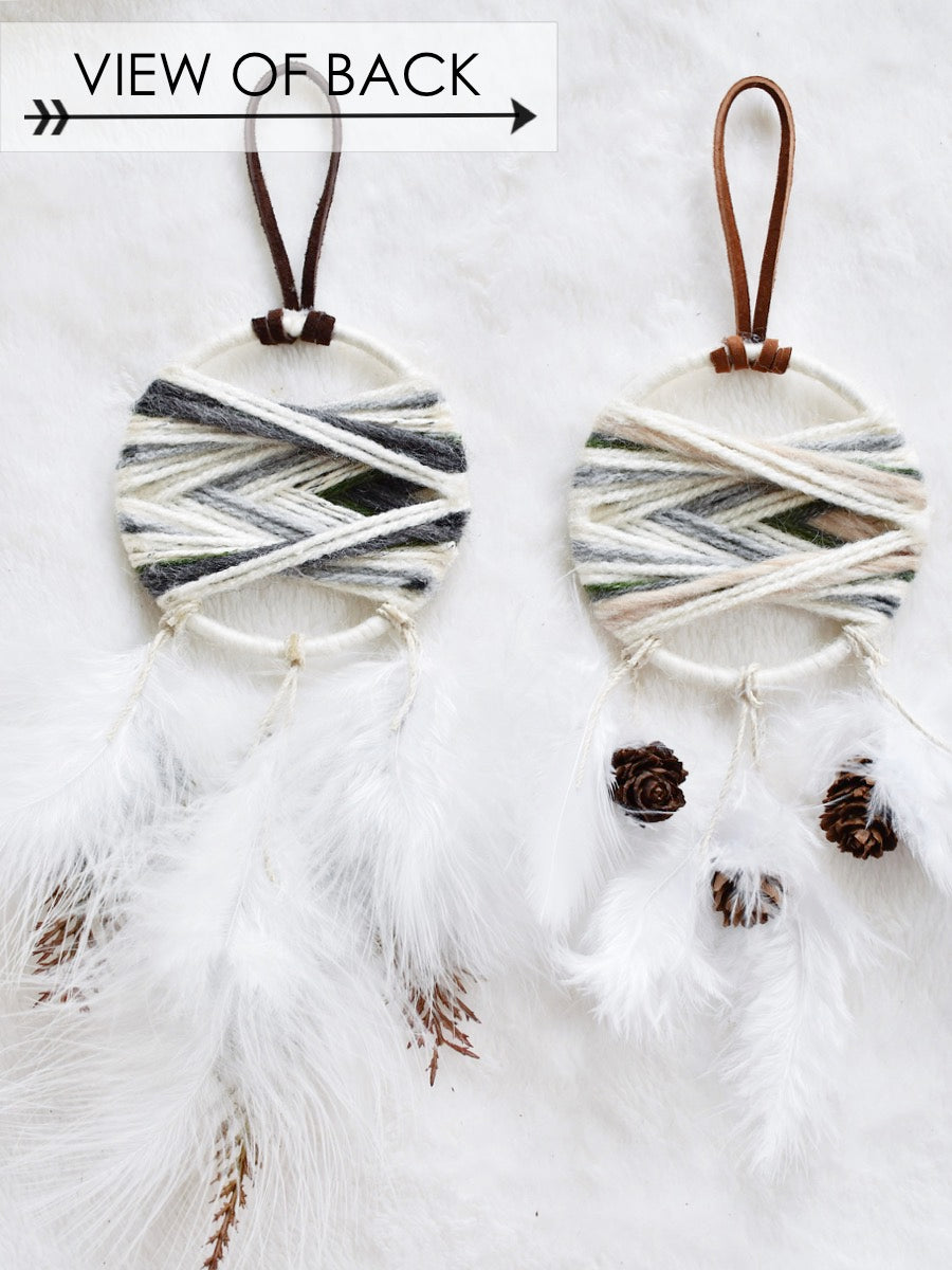 Woven Dream Catcher Ornament in Evergreen