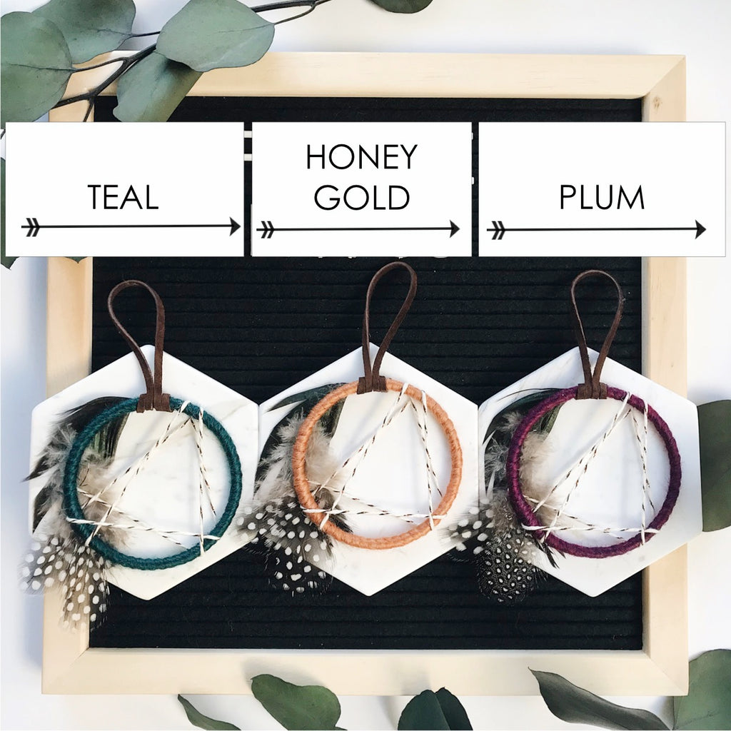 North Star Dream Catcher Ornament - Honey Gold