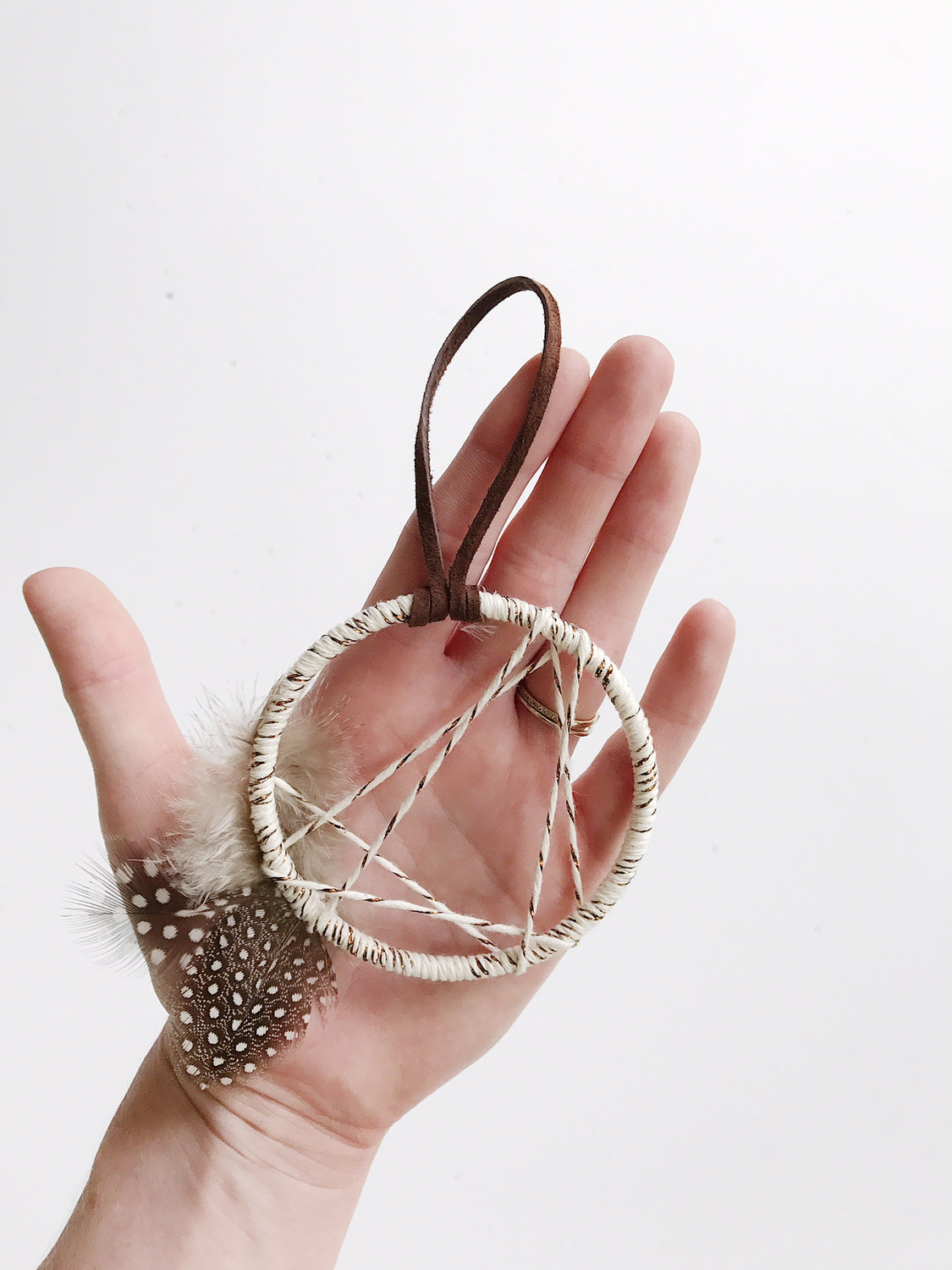 First Star Dream Catcher Ornament - Silver + Nutmeg
