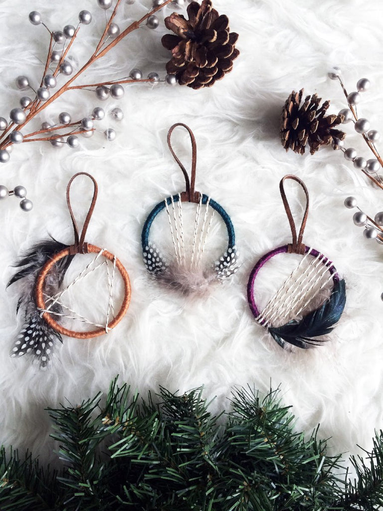 Jewel Tone Dream Catcher Christmas Ornaments