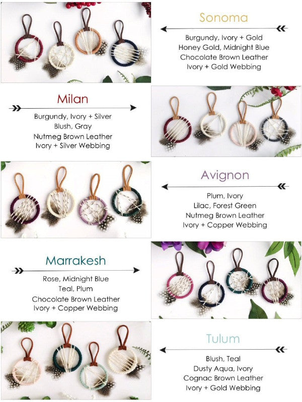 color selection of dream catcher favors