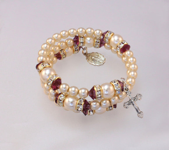 Birthstone Pearls and Rondelle Rosary Bracelets, Rosaries and Earrings