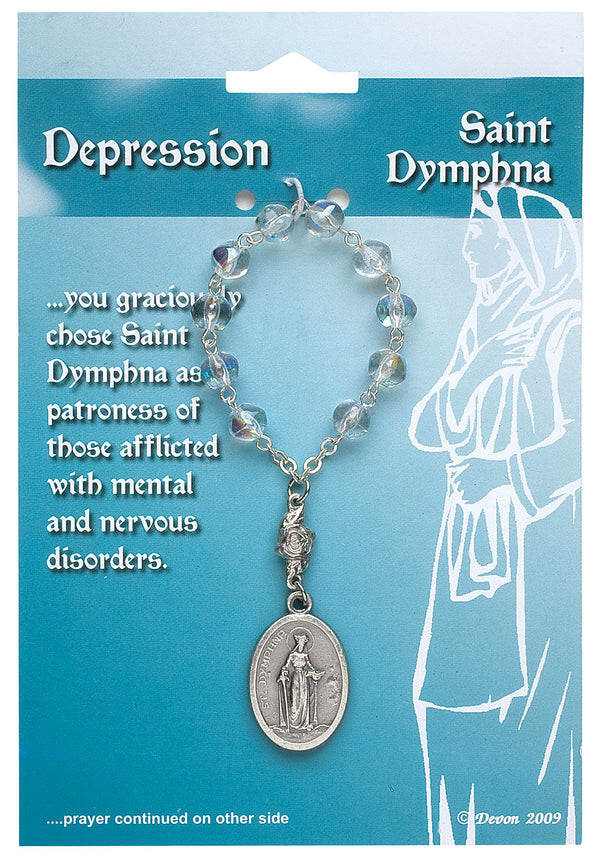 St Dymphna Patron Saint Of Depression Prayer Card- One Decade Rosary