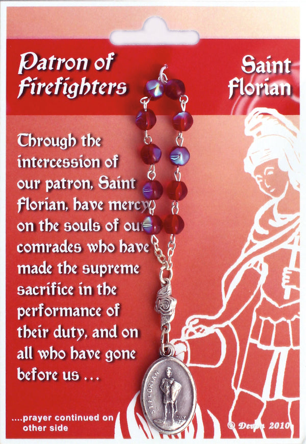 St. Florian Patron Saint Of Firefighters Prayer Card-One Decade Rosary