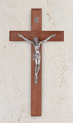8in. Rounded Walnut Crucifix