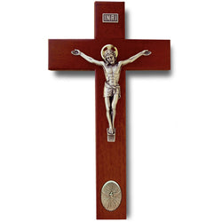 9in. Rosewood finish crucifix with Holy Spirit medallion - 17465/H