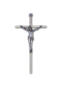 10in. Metal Crucifix Silver Corpus