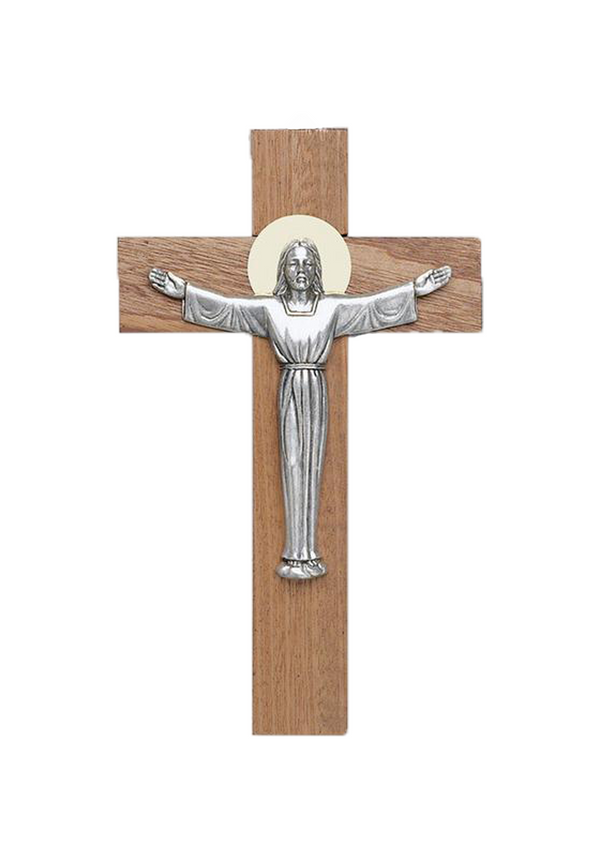 12in. Risen Christ Mahogany Crucifix