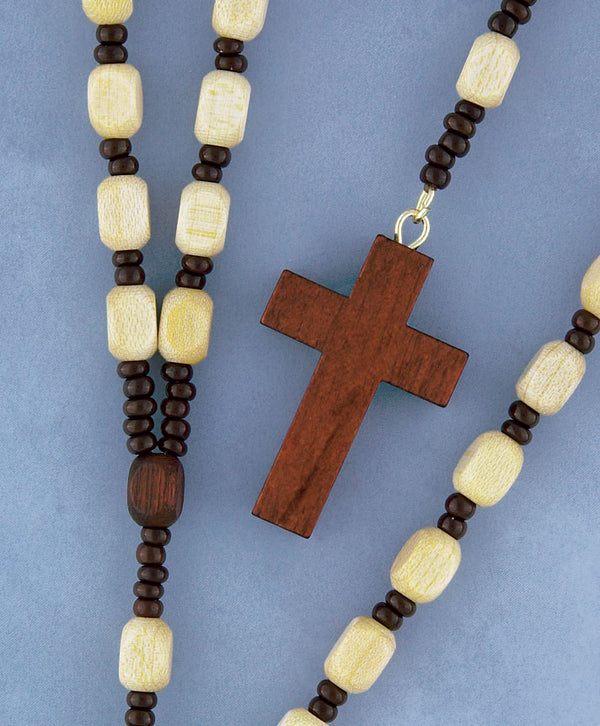 Square Wood Cord Rosary